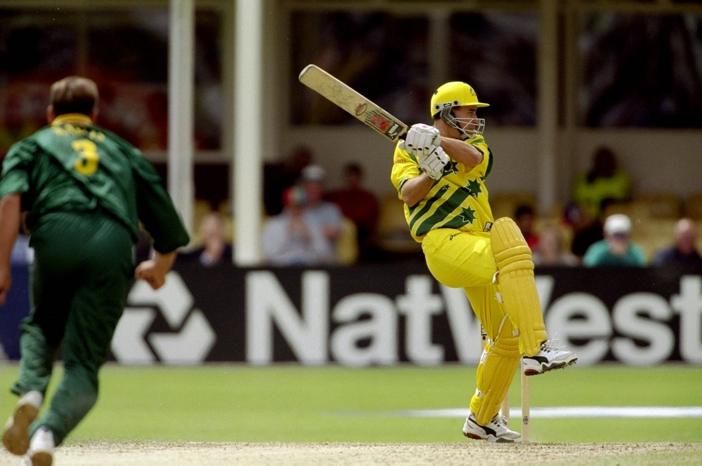 Bat out of hell: Michael Bevan wields the Puma Milichamp to rescue Australia from 68 for 4 in <i>that</i> fateful World Cup semi-final in 1999