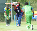 Saheed Mohamed drives during his innings of 37, Cayman Islands v Tanzania, ICC WCL Div. 4, Pianoro, August 18, 2010
