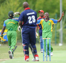 Kassim Nassoro celebrates after trapping Ryan Bovell leg before, Cayman Islands v Tanzania, ICC WCL Div. 4, Pianoro, August 18, 2010