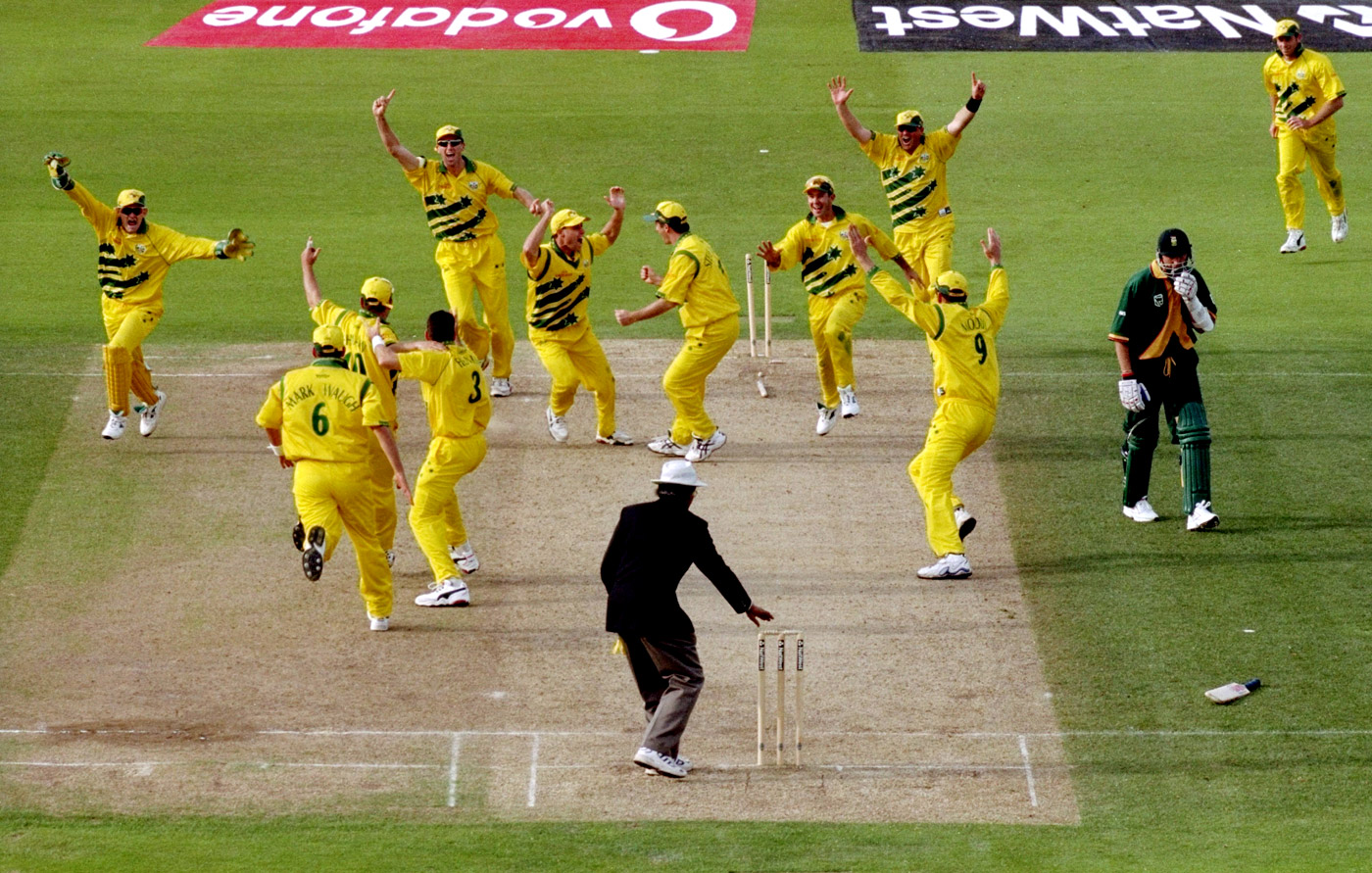 Allan Donald is run out and the game is tied