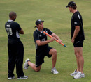 Tim Southee makes a point to Jeetan Patel and Jacob Oram, Sri Lanka v New Zealand, tri-series, 4th ODI, Dambulla, August 19, 2010