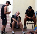 TMark Greatbatch with Ross Taylor and Martin Guptill ahead of the match, Sri Lanka v New Zealand, tri-series, 4th ODI, Dambulla, August 20, 2010