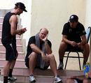 TMark Greatbatch with Ross Taylor and Martin Guptill ahead of the match, Sri Lanka v New Zealand, tri-series, 4th ODI, Dambulla, August 20, 2010