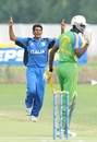 Dilan Fernando celebrates the dismissal of Khalil Rehmtullah, Italy v Tanzania, ICC WCL Div. 4, Navile, August 20, 2010