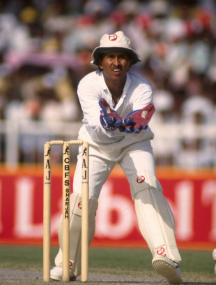 Kiran More fields the ball, India v Pakistan, Wills Trophy, 2nd ODI, Sharjah, October 22, 1991
