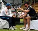 Virender Sehwag and Peter Ingram have a chat, Dambulla, August 24, 2010