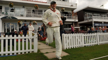 Matthew Hoggard leads his Leicestershire side out against Surrey