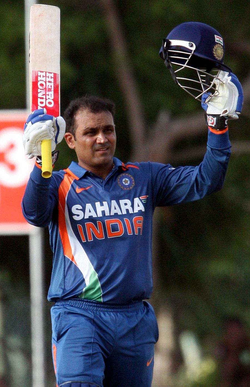 Virender Sehwag brings up his 13th ODI ton