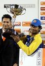 Kumar Sangakkara with the series trophy, Sri Lanka v India, tri-series final, Dambulla, August 28, 2010