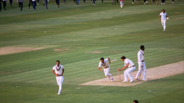 Indian players run off the ground