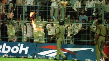 Fanatic Indian supporters cause a riot in the Eden Garden stands