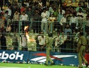 Fanatic Indian supporters cause a riot in the Eden Garden stands, 1st semi-final, India v Sri Lanka, Wills World Cup, Kolkata, March 13, 1996