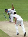 Laurie Evans gets into a tangle as he is bowled by Simon Cook, Warwickshire v Kent, County Championship, Division One, Edgbaston, August 31, 2010