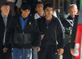 Salman Butt, Mohammad Amir and Mohammad Asif leave the team hotel in Taunton for London, Taunton, September 1, 2010