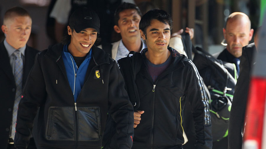 Salman Butt, Mohammad Asif and Mohammad Amir leave the team hotel in Taunton for London