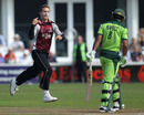 Mohammad Hafeez was sent on his way by Mark Turner for a duck, Somerset v Pakistanis, Tour Match, Taunton, September 2, 2010