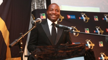 Brian Lara at an awards ceremony in Zimbabwe