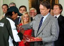 Giles Clarke hands Mohammad Amir his Player-of-the-Series medal, fourth Test, England v Pakistan, Lord's, August 29, 2010