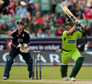 Shahid Afridi swung the bat merrily but couldn't find the boundary enough as Pakistan slid towards defeat, England v Pakistan, 1st ODI, Chester-le-Street, September 10 2010