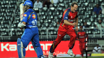 Shane Burger is delighted after dismissing Sachin Tendulkar