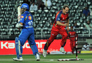 Shane Burger is delighted after dismissing Sachin Tendulkar, Lions v Mumbai, Champions League Twenty20, Johannesburg, September 10, 2010