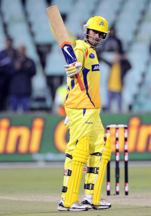 S Badrinath acknowledges the crowd after his half-century, Central Districts v Chennai Super Kings, Champions League Twenty20, Durban, September 11, 2010
