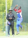 Lennox Cush bowls, Italy v USA, ICC World Cricket League Division 4 final, August 21, 2010