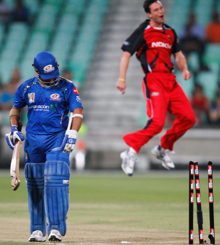 Aaron O'Brien exults after bowling Sachin Tendulkar