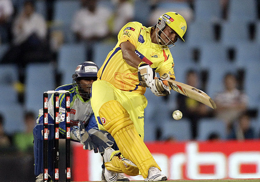 Suresh Raina tries to launch into one