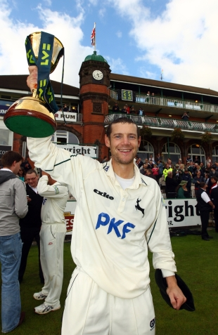 Chris Read, Nottinghamshire's victorious captain, poses with the trophy, Lancashire v Nottinghamshire, County Championship Division One, Old Trafford, September 16 2010