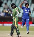 Lasith Malinga gets rid of Sewnarine Chattergoon, Mumbai Indians v Guyana, Champions League Twenty20, Durban, September 16, 2010
