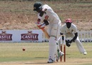 Stuart Matsikenyeri defends during the Rocks' innings, Rocks v Rhinos, Logan Cup, Masvingo Sports Club, September 2010