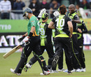 Warriors celebrate the dismissal of Peter Ingram, Warriors v Central Districts, Champions League Twenty20 2010, Port Elizabeth, September 18, 2010