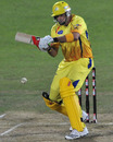Justin Kemp struggles to deal with a slow bouncer, Chennai v Victoria, Champions League Twenty20 2010, Port Elizabeth, September 18, 2010