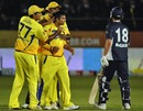 Suresh Raina and Chennai after dismissing last man Bryce McGain, Chennai v Victoria, Champions League Twenty20 2010, Port Elizabeth, September 18, 2010