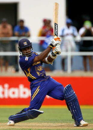 Mahela Jayawardene cracks the ball through point , New Zealand v Sri Lanka, 1st semi-final, Jamaica, April 24, 2007