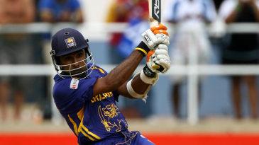 Mahela Jayawardene cracks the ball through point