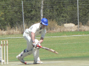 Namibia's Louis van der Westhuizen nudges one into the leg side, Namibia v Uganda, 3rd day, ICC Intercontinental Shield, Windhoek, September 20, 2010