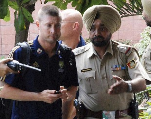 Michael Clarke enters a hotel in Chandigarh, September 20, 2010