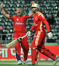 Cliffie Deacon exults after dismissing Ross Taylor, Lions v Bangalore, CLT20 2010, Johannesburg