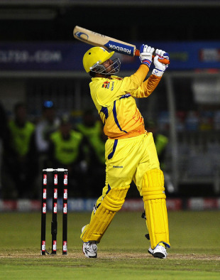 MS Dhoni swings one over deep midwicket, Warriors v Chennai Super Kings, Champions League T20, Port Elizabeth, September 22, 2010