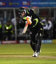 Justin Kreusch drives uppishly, Warriors v Chennai Super Kings, Champions League T20, Port Elizabeth, September 22, 2010
