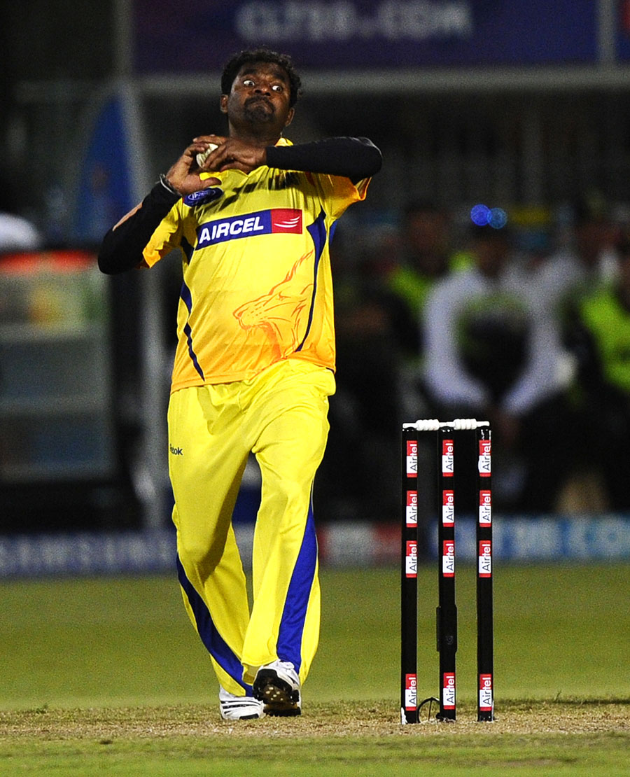 Muttiah Muralitharan is all concentration in his delivery stride