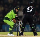 Shahid Afridi dragged on first ball against Graeme Swann