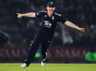 Eoin Morgan hit an unbeaten 107 as England secured the one-day series with a 121-run victory at the Rose Bowl