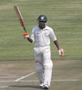 Keith Dabengwa acknowledges the cheers after his century, Zimbabwe XI v Ireland, ICC Intercontinental Cup, Harare, 3rd day, September 21, 2010