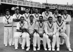 Waqar Hasan (standing, second from right) with his team-mates ahead of the Trent Bridge Test, 1954