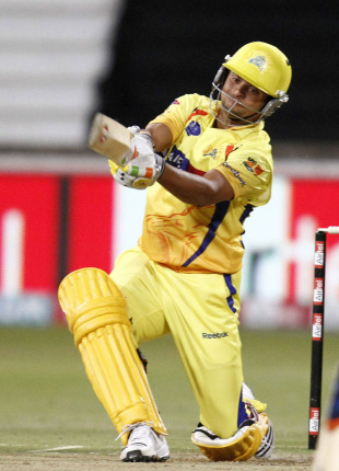 Suresh Raina brings out his favourite slog-sweep, Chennai Super Kings v Royal Challengers Bangalore, Champions League Twenty20, Durban, September 24, 2010