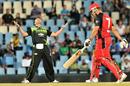 Nicky Boje celebrates after catching Graham Manou off his own bowling, Warriors v South Australia, Champions League Twenty20, Centurion, September 25, 2010