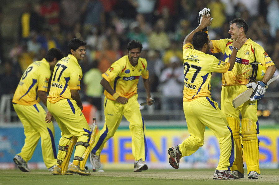 The Chennai players are ecstatic after their triumph